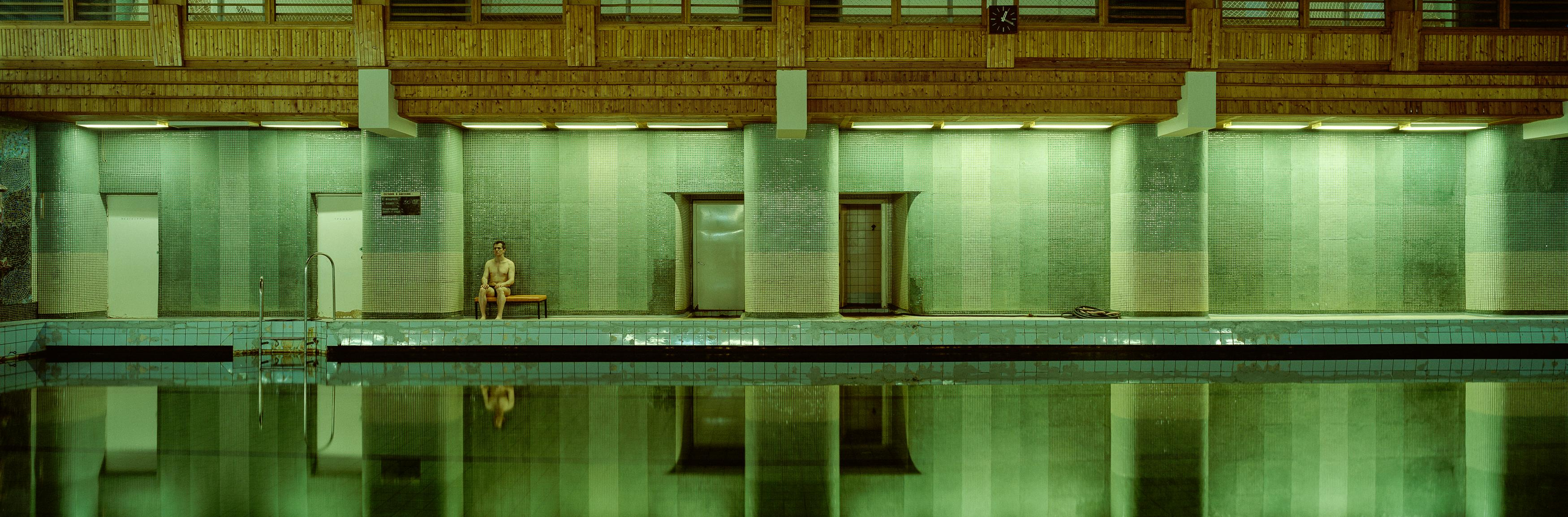 Oleg by Christian Houge - panoramic photography, Svalbard, swimming pool, green