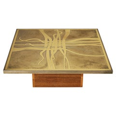Christian Krekels Signed Coffee Table in Brass with Base in Wengé