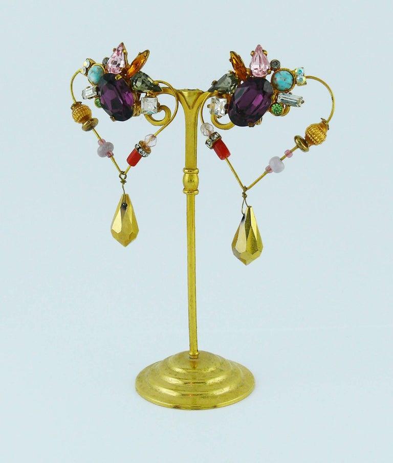 Women's Christian Lacroiix Vintage Jewelled Heart Dangle Earrings For Sale