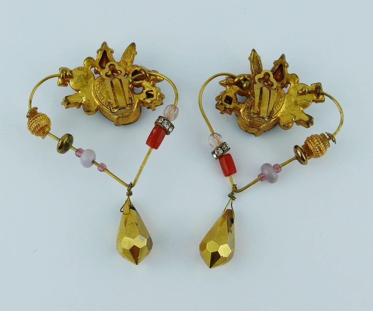 Christian Lacroiix Vintage Jewelled Heart Dangle Earrings For Sale 1