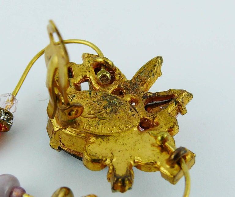 Christian Lacroiix Vintage Jewelled Heart Dangle Earrings For Sale 2