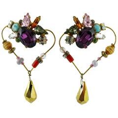 Christian Lacroiix Vintage Jewelled Heart Dangle Earrings