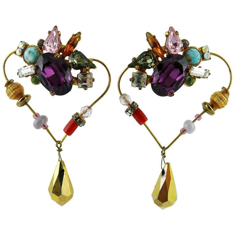 Christian Lacroiix Vintage Jewelled Heart Dangle Earrings For Sale