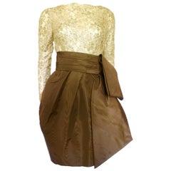 Christian Lacroix 1980s Luxe Gold Lace Bubble Dress
