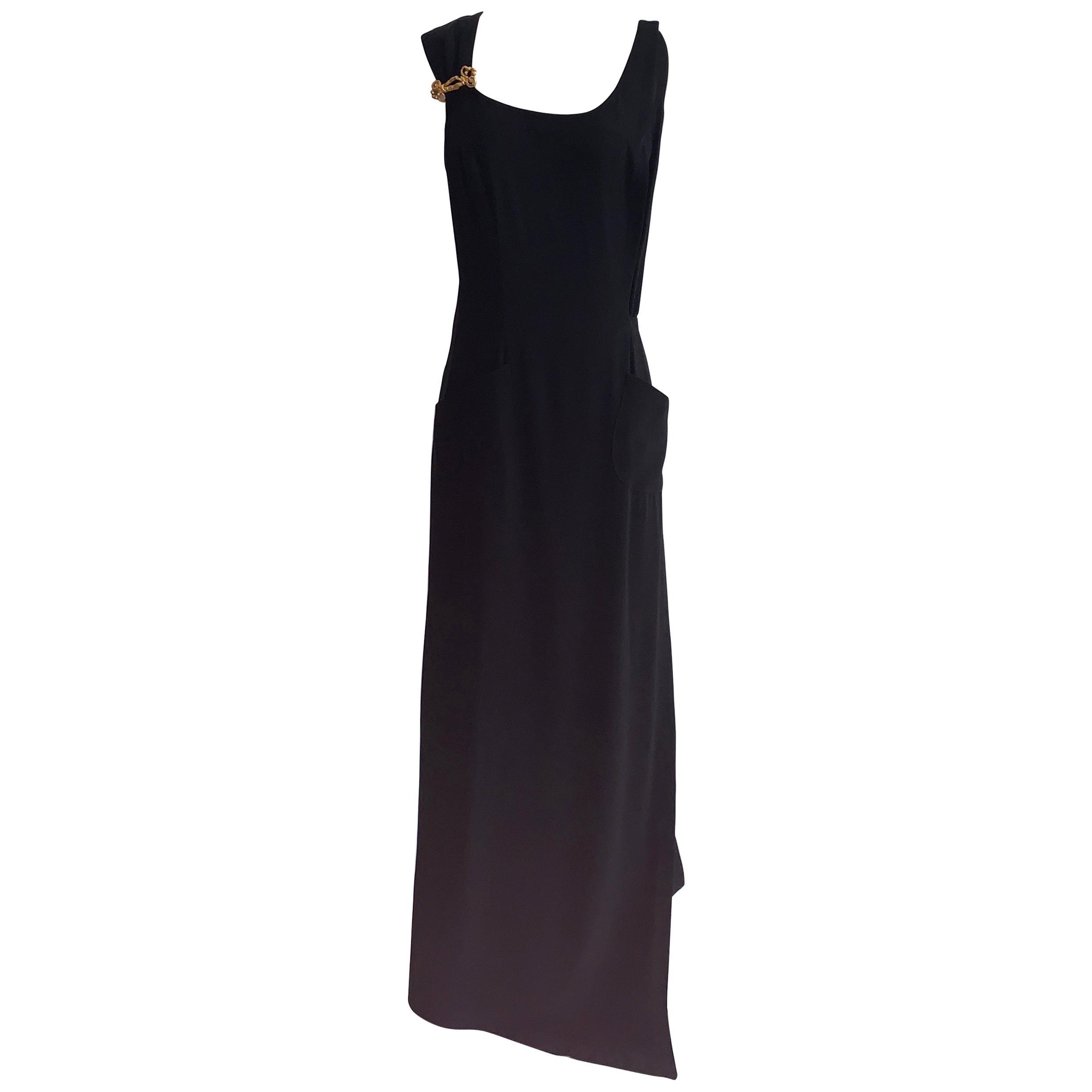 Christian Lacroix 1990s Black Gold Accent Pocket Front Maxi Wrap Dress Gown