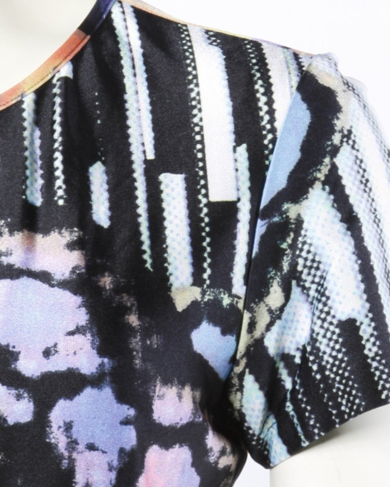 Christian Lacroix 1990s Colorful Abstract Pixel Print Jersey Knit T-Shirt Top In Excellent Condition For Sale In Sparks, NV