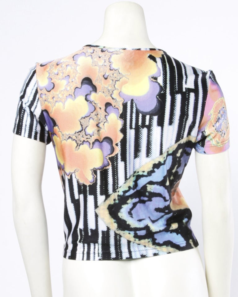 Christian Lacroix 1990s Colorful Abstract Pixel Print Jersey Knit T-Shirt Top For Sale 2