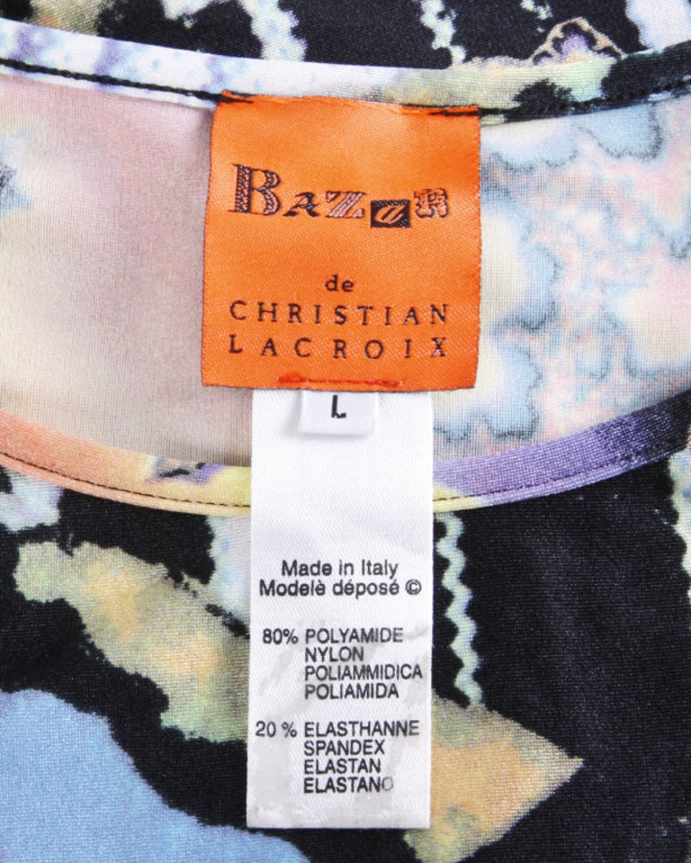 Christian Lacroix 1990s Colorful Abstract Pixel Print Jersey Knit T-Shirt Top For Sale 3