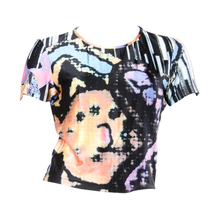 Christian Lacroix 1990s Colorful Abstract Pixel Print Jersey Knit T-Shirt Top For Sale