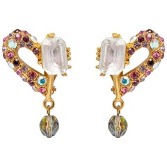 Christian Lacroix 1990s Gold Fantasy Drop Earrings with Semi Precious Stones