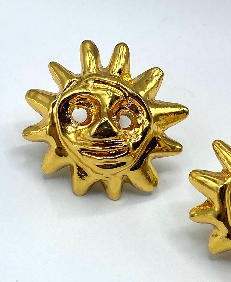 Women's Christian Lacroix 1990s Iconic Sun Face Large Earrings For Sale