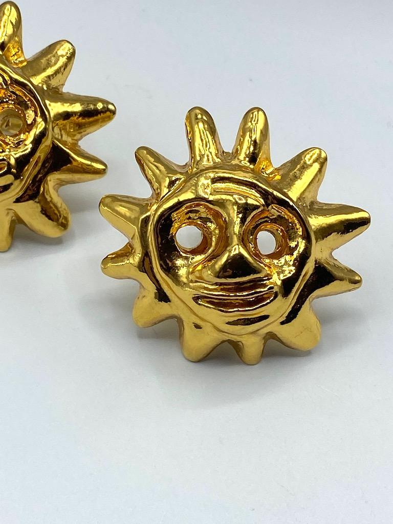 Christian Lacroix 1990s Iconic Sun Face Large Earrings For Sale 1