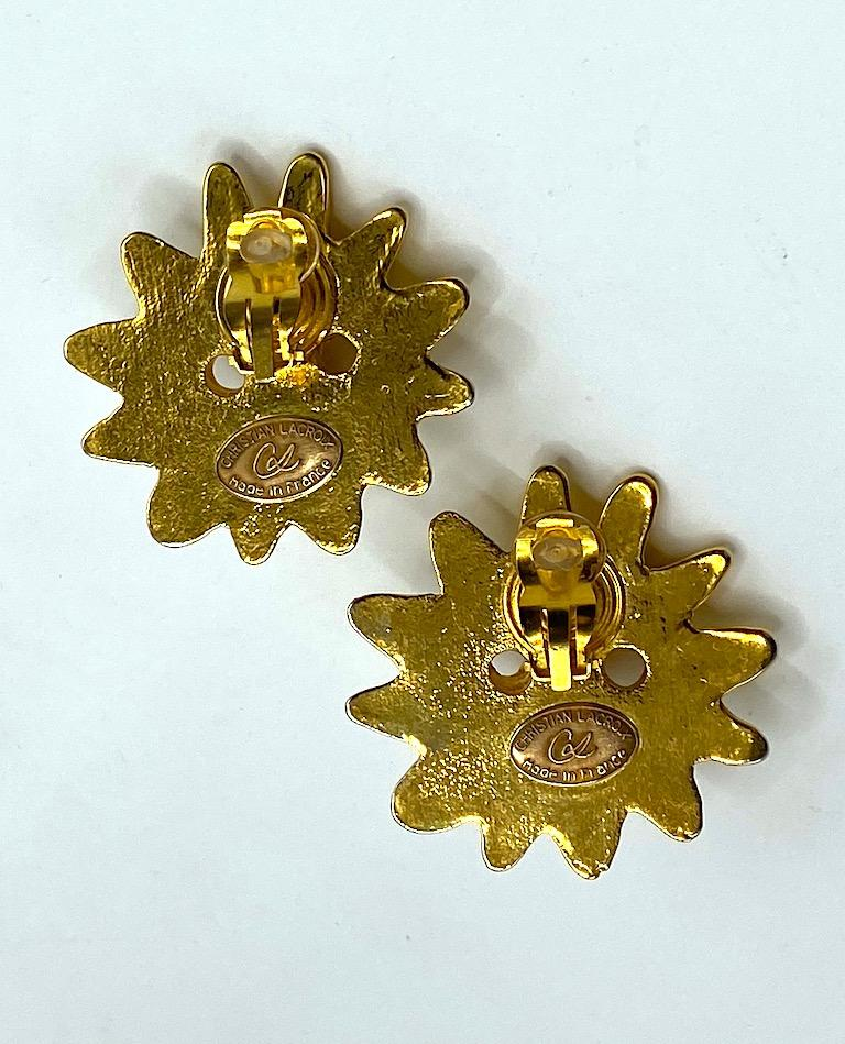 Christian Lacroix 1990s Iconic Sun Face Large Earrings For Sale 4