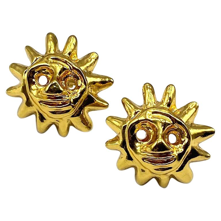 Christian Lacroix 1990s Iconic Sun Face Large Earrings For Sale