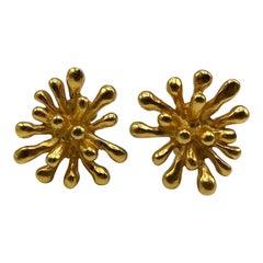 Christian Lacroix 1990s Satin Gold Sputnik Earrings.