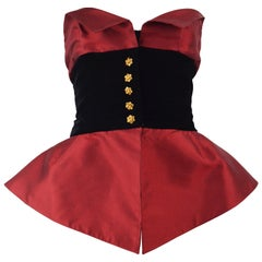 Christian Lacroix 1990s Vintage Red Silk & Black Velvet Evening Peplum Bustier