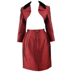 Christian Lacroix 1990s Vintage Red Silk Taffeta Bolero Jacket & Skirt Suit