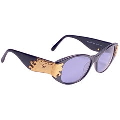 Christian Lacroix 6705 France Vintage Black and Gold Baroque Sunglasses, 1980