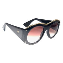 Christian Lacroix 7316 France Vintage Black and Gold Baroque Sunglasses, 1980