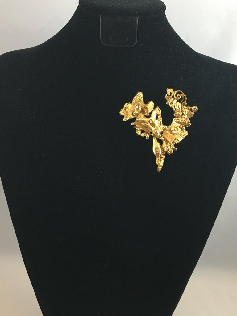 Women's or Men's Christian Lacroix Abstract Heart Brooch, 1990s For Sale
