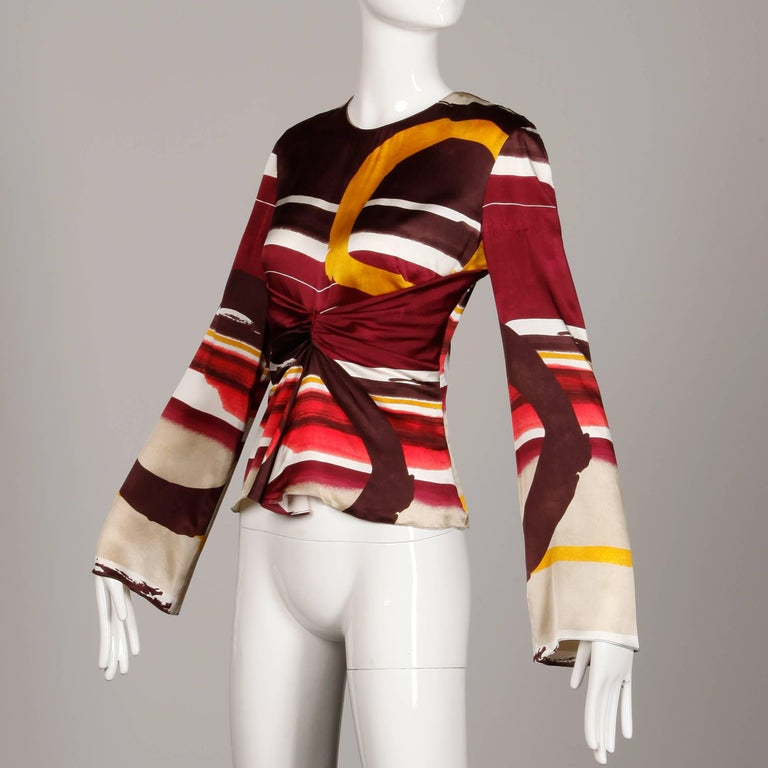 Christian Lacroix Abstract Printed Striped Silk Bell Sleeve Top/Shirt/Blouse In Excellent Condition In Sparks, NV