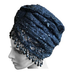 Christian Lacroix Amazing Black Lace Turban with Jet Bead Fringe