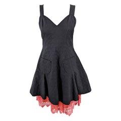 Christian Lacroix Bazar Vintage Black Apron & Coral Lace Dress, 1990s