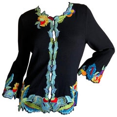 Christian Lacroix Black Cashmere Sweater with Exuberant Floral Embroidery
