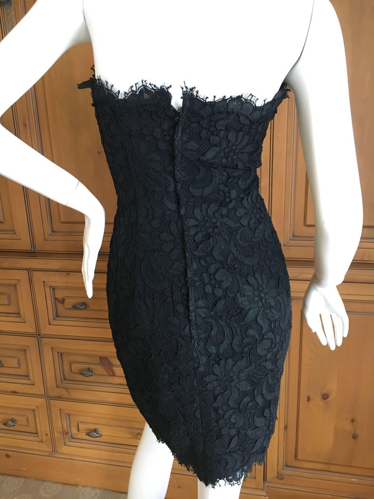 Christian Lacroix Black Lace Strapless Mini Dress XS In Excellent Condition In San Francisco, CA