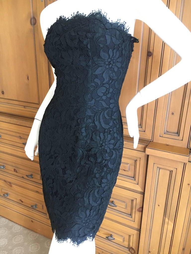 Christian Lacroix Black Lace Strapless Mini Dress XS 1