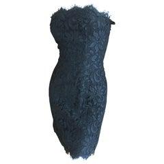 Christian Lacroix Black Lace Strapless Mini Dress XS