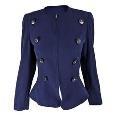 Christian Lacroix Blue Womens Fitted Wool Blazer