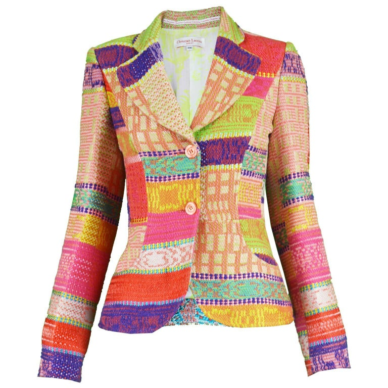 Christian Lacroix Brightly Multicolored Woven Tapestry Women's Blazer Jacket