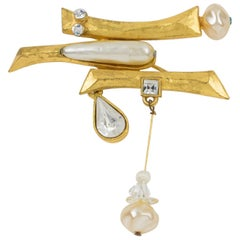 Christian Lacroix Brutalist Gilt Metal Pin Brooch with Pearl