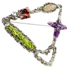 Christian Lacroix Brutalist Silvered Metal Pin Brooch with Colorful Enamel