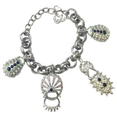 CHRISTIAN LACROIX Chain Bracelet in Silver Metal with Charms