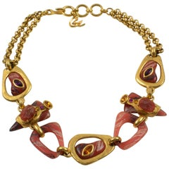 Christian Lacroix Choker Necklace Orange Resin Crystal Stone
