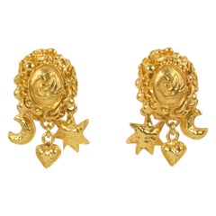 Christian Lacroix Clip Earrings Gilt Dangling Charms