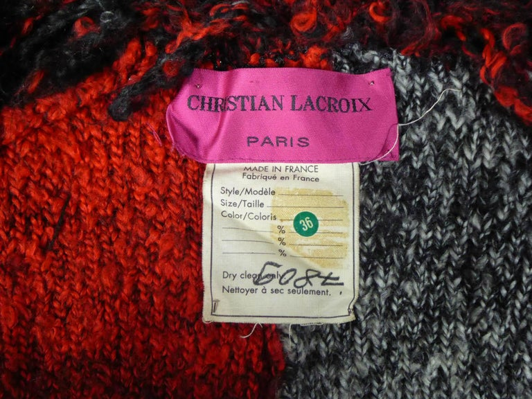 Black  Christian Lacroix Couture Long Woollen Coat Numbered 7809 Circa 1985 For Sale