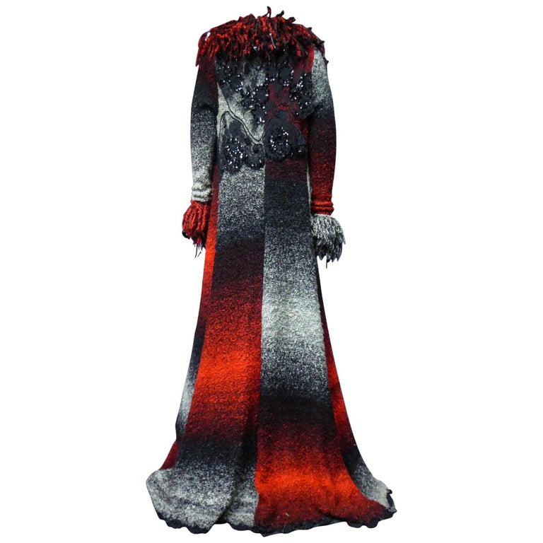 Christian Lacroix Couture Long Woollen Coat Numbered 7809 Circa 1985 For Sale