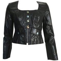 Christian Lacroix Cropped Black Faux Snakeskin Biker Jacket Size 6.