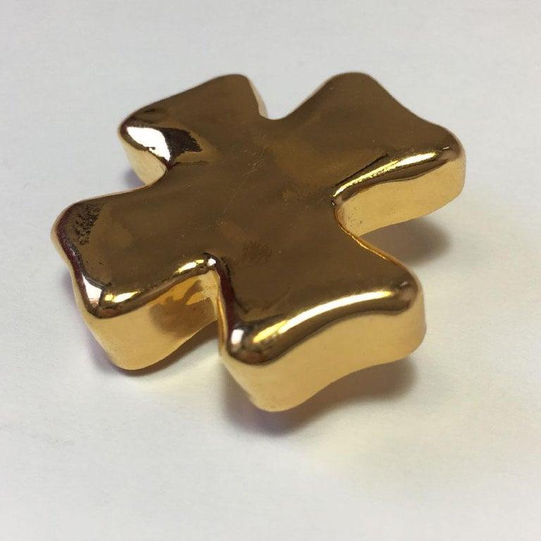 Women's Christian Lacroix Cross Brooch In Golden Resin. For Sale