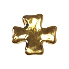 Christian Lacroix Cross Brooch In Golden Resin.