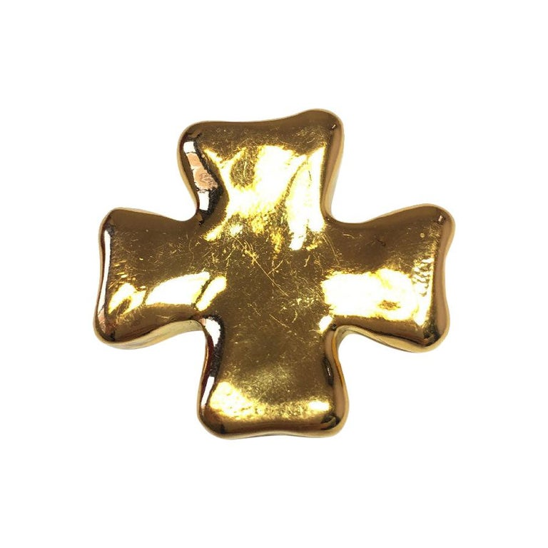Christian Lacroix Cross Brooch In Golden Resin. For Sale