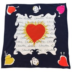 Christian Lacroix Cupid and Hearts Signature Silk Scarf