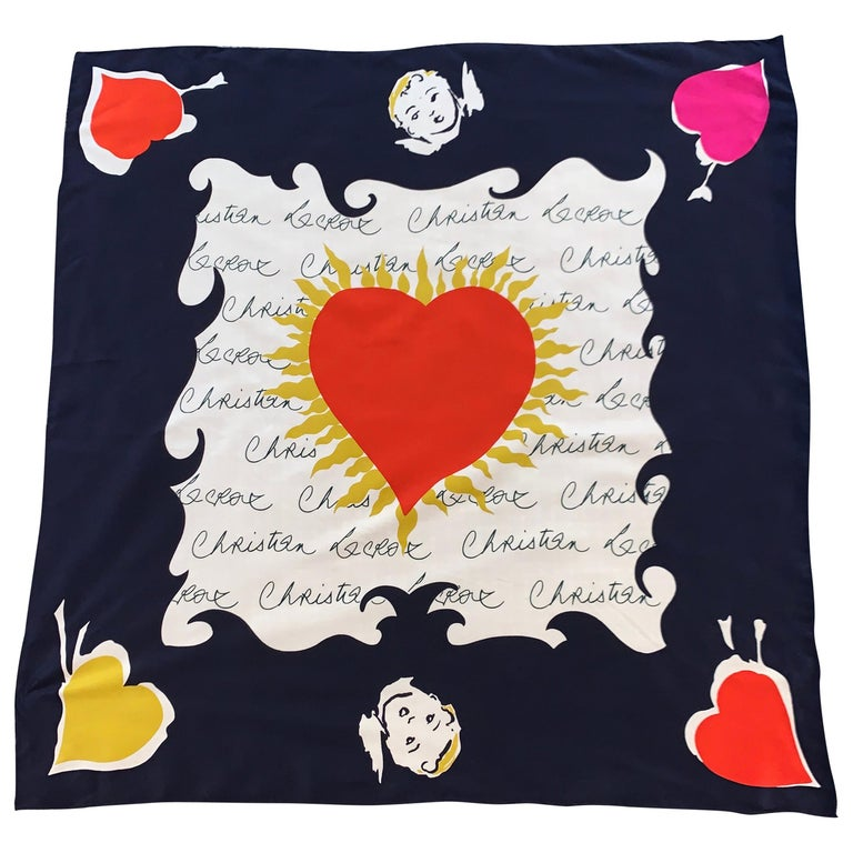 Christian Lacroix Cupid and Hearts Signature Silk Scarf For Sale