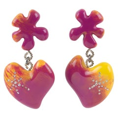 Christian Lacroix Dangle Clip Earrings Pink Resin Heart
