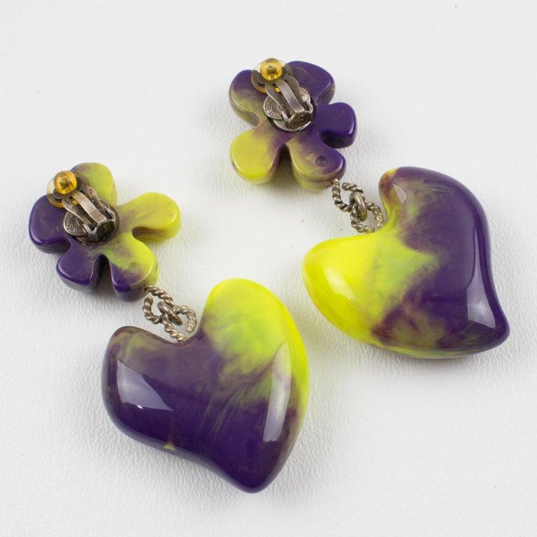 Women's Christian Lacroix Dangle Clip Earrings Purple Pistachio Resin Heart For Sale