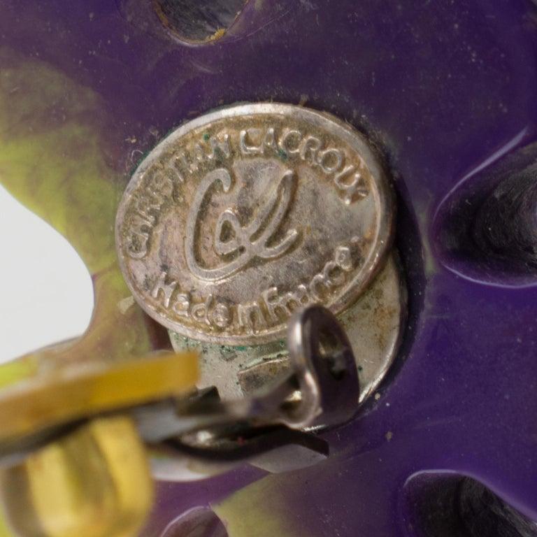 Christian Lacroix Dangle Clip Earrings Purple Pistachio Resin Heart For Sale 1