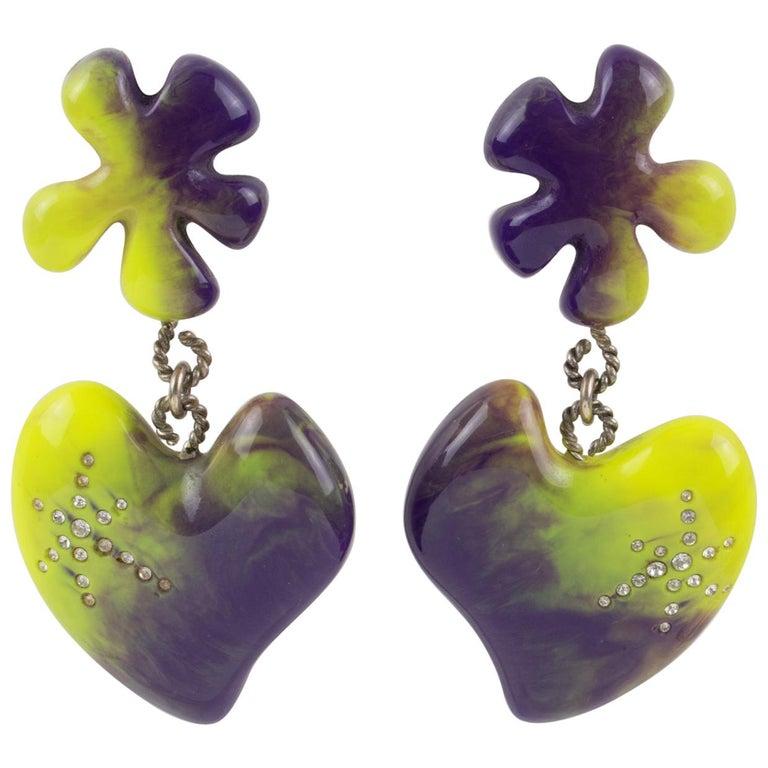 Christian Lacroix Dangle Clip Earrings Purple Pistachio Resin Heart For Sale